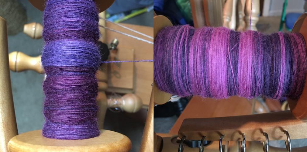 Purple yarn on a spool.